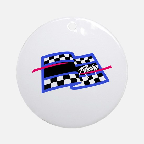 Checkered Flag Name Drop Ornament (Round)