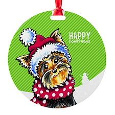 Yorkie Scarf Christmas Ornament