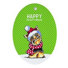 Yorkie Scarf Christmas Ornament (Oval)
