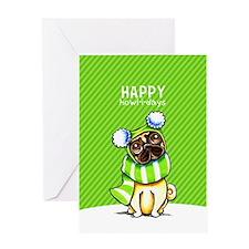 Pug Scarf Christmas Greeting Cards