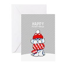 Maltese Plaid Scarf Christmas Greeting Cards