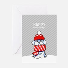 Maltese Plaid Scarf Christmas Greeting Cards