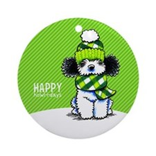 Parti Poodle Scarf Christmas Ornament (Round)
