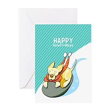 Yellow Lab Sled Christmas Greeting Cards