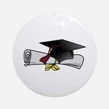 Cap and Diploma Ornament (Round)