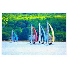 Colorful Sailboats Poster