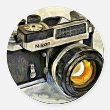 Vintage SLR camera with selenium  Round Car Magnet