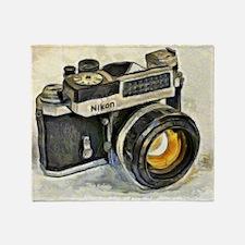 Vintage SLR camera with selenium met Throw Blanket