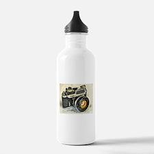 Vintage SLR camera wit Water Bottle