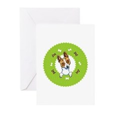 Basenji Bones Wreath Greeting Cards