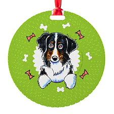 Bernese Mtn Dog Bones Wreath Ornament