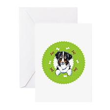 Bernese Mtn Dog Bones Wreath Greeting Cards