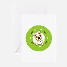 Fawn Frenchie Bones Wreath Greeting Cards