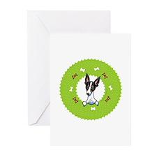 Rat Terrier Bones Wreath Greeting Cards