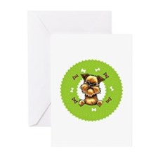 Brussels Griffon Rough Bones Wreath Greeting Cards