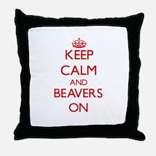 Keep Calm and Beavers ON Throw Pillow