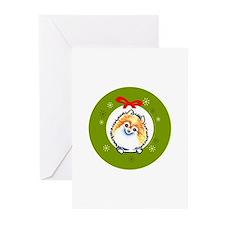 Parti Pomeranian Classic Wreath Greeting Cards