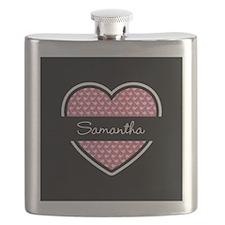 Black Pink Heart Smoke Pipe Pattern Flask
