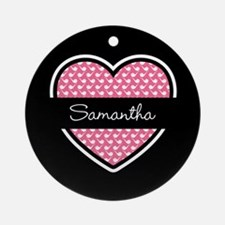 Black Pink Heart Smoke Pipe Patte Ornament (Round)