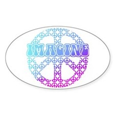 Imagine Peace Signs Oval Decal