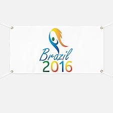 Brasil 2016 Summer Games Flaming Torch Banner