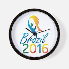 Brasil 2016 Summer Games Flaming Torch Wall Clock