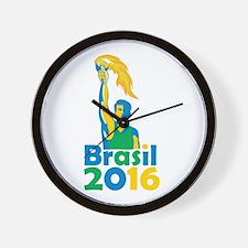 Brasil 2016 Summer Games Athlete Torch Wall Clock