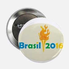 "Brasil 2016 Summer Games Flaming Torch 2.25"" Butto"