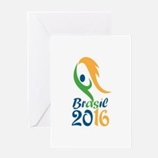 Brasil 2016 Flames Summer Games Greeting Cards