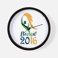 Brasil 2016 Flames Summer Games Wall Clock