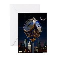 Night Clock Greeting Cards