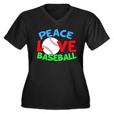 Baseball Lov Women's Plus Size V-Neck Dark T-Shirt