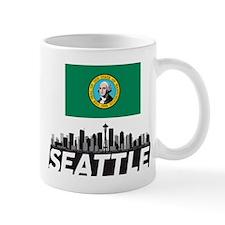 Seattle Washington Flag Skyline  Small Small Mug