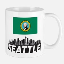 Seattle Washington Flag Skyline  Small Small Mug