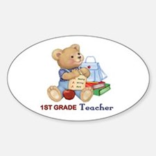 School Days Teddy - 1ST Grade Oval Decal
