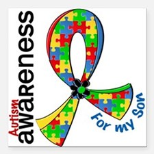 "For My Son Autism Square Car Magnet 3"" x 3"""