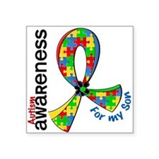 "For My Son Autism Square Sticker 3"" x 3"""