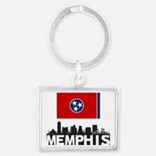 Memphis Tennessee Flag Skyline Landscape Keychain
