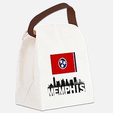 Memphis Tennessee Flag Skyline Canvas Lunch Bag