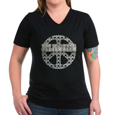 World Peace Imagine Women's V-Neck Dark T-Shirt