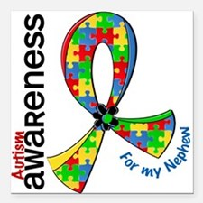 "For My Nephew Autism Square Car Magnet 3"" x 3"""