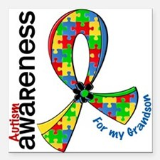 "For My Grandson Autism Square Car Magnet 3"" x 3"""