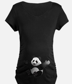 3D Fluffy Panda Bear Maternity T-Shirt