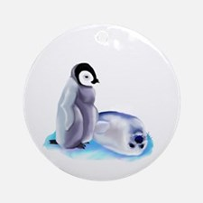 Penquin and Harp Seal Ornament (Round)
