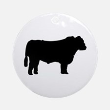 Black Angus Silhouette Ornament (Round)