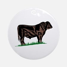 Black Angus Steer Ornament (Round)