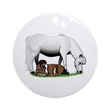 Miniature Pony Mom and Baby Ornament (Round)