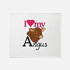 I Love My Angus Throw Blanket