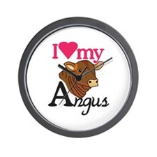 I Love My Angus Wall Clock