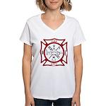 Fire Department Maltese Cross Women's V-Neck T-Shi